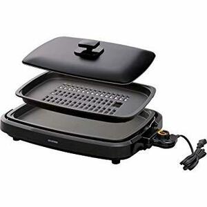 ブラック 2WAY アイリスオーヤマ 煙が出にくい ヘルシー ホットプレート 焼肉 平面 プレート 2枚 蓋付き ブラック AP