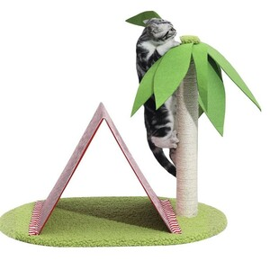 キャットタワー キャットハウス 猫爪とぎ 可愛い テントハウス&ヤシの木タワー