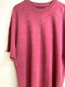 CIVIL REGIME シビル レジーム T-SHIRTS size L ダメージ ティーシャツ BURGUNDY バーガンディー ストリート カジュアル HIPHOP