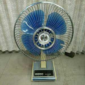 昭和レトロ TOSHIBA 東芝 扇風機 D-30PG 4枚羽根 ブルー アンティーク家電 希少 中古 長期保管品 通電、動作確認済み 羽根割れ有り 現状品