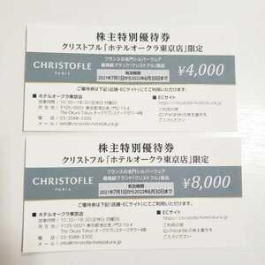 ■株主特別優待 CHRISTOFLE クリストフル「ホテルオークラ東京店」限定 4000円 8000円 格1枚■有効期限2021年7月1日~2022年6月30日