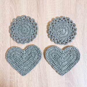 ハンドメイド コースター アクリルたわし エコ モチーフ ハート フリル 花 編み物 可愛い かわいい