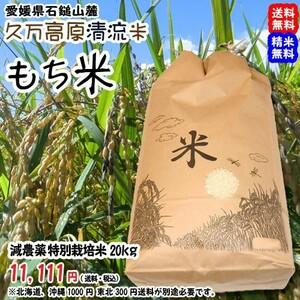 愛媛 石鎚山麓 久万高原 清流米 減農薬 特別栽培米 令和3年産 ( もち米 ) 20kg 百姓直送 送料無料 宇和海の幸問屋