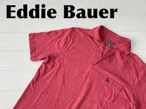 ☆送料無料☆ Eddie Bauer エディーバウアー 古着 半袖 スキッパーネック 胸ポケット ポロシャツ メンズ S 大きめ レッド トップス 中古