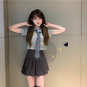 韓国 制服 セットアップ スクール プリーツスカート ネクタイ リボン コスプレ シンプルM