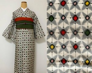 """""""надеты"""" возможно античный кимоно натуральный шелк .. тканый длина 159. белый земля . рука обратная сторона . рисунок . какой . рисунок diamond современный retro Taisho роман одевание японский костюм casual"""