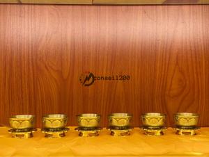 「密教法具 寺院用仏具」美品 別上筋彫前具 六器一組セット 真鍮製磨き仕上げ
