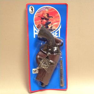 【未開封 新品】1970年代 当時物 ピストルセット ホルスター 保安官バッジ付き (キャップガン ビンテージ 昭和レトロ 駄玩具 駄菓子屋 鉄砲