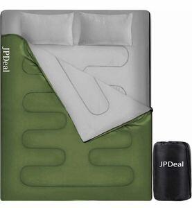 寝袋 封筒型 シュラフ 2人用 シングル ダブル 枕付き 二人用