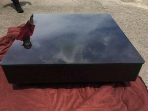 ■5326■ブラックガラス センターテーブル 引き出し付き ローテーブル リビング 机 天板ガラス