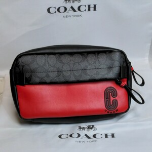 コーチ COACH デイバッグ ショルダーバッグ シグネイチャーブラック/レッド メンズバッグ ウエストポーチ 新品未使用