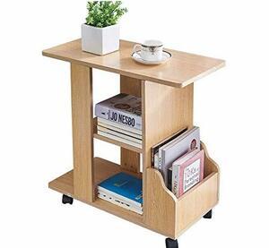 KMAYA サイドテーブル 可移動デスク キャスター付き おしゃれ ベッドサイドテーブル コの字型デザイン 実用的 二段収納棚 付きテーブル