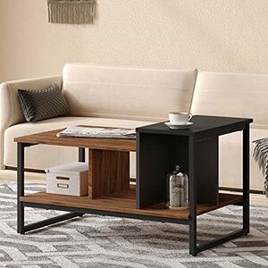 HOMOOI ローテーブル 階層設計 木制センターテーブル コーヒーテーブル コンパクト収納 リビング用テーブル 幅80×奥行50cm サペリ