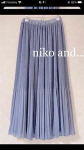 美品ニコアンド niko and.. フリーサイズ プリーツロングスカート シフォンプリーツスカート ウエストゴム