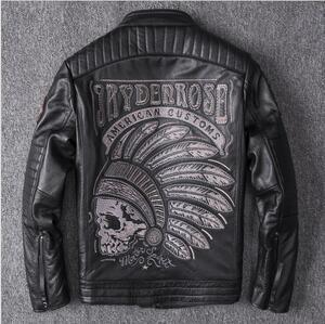 人気商品**カウハイド 牛革 レザージャケット 革ジャン ライダース バイクジャケット メンズファッション 刺繍 本革 アメカジ S~4XL