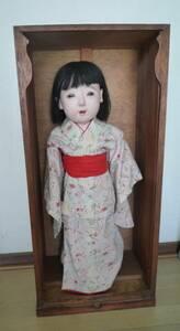 ★ 古い 市松人形 在銘有り 高さ:58センチ 箱入り