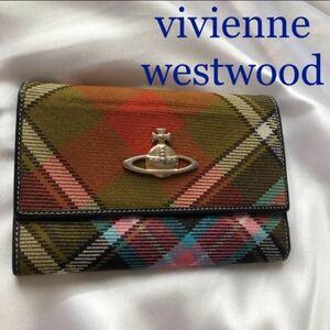Vivienne Westwood ヴィヴィアンウエストウッド 折り財布 チェック オーブ ピンク カーキグリーン