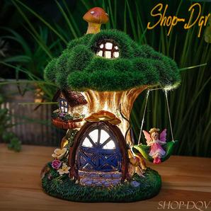 メルヘンチック かわいい ソーラーライト ガーデン オブジェ 夜間自動点灯 ツリーハウス オーナメント ガーデニング 庭