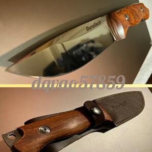 フルタング 鏡面仕上げ シースナイフ 高品質ウッドグリップ 素材は花梨 キャンプ サバイバル ブッシュ クラフト ナイフ