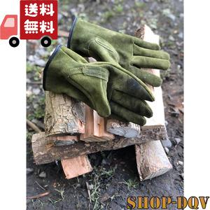 【しっかり耐火!】 分厚い 牛革 手袋 グローブ アウトドア 焚き火 料理 BBQ バイク 防寒 ツーリング