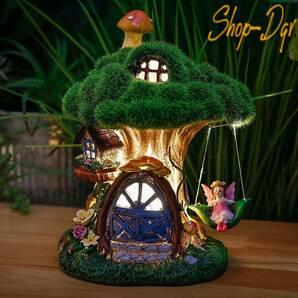 かわいい!ソーラーライト ガーデン オブジェ 夜間自動点灯 ツリーハウス オーナメント ガーデニング 庭