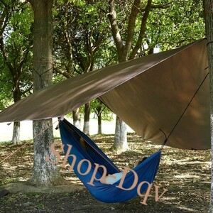 3m×2.9m タープ キャンプ 天幕 シェード 遮光 日除け 軽量 コンパクト テント ツーリング ブラウン