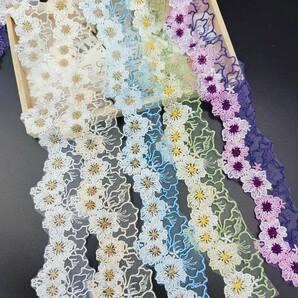 品番HR903 花 チュールレース ハンドメイド素材 桜 パーツ モチーフ 1m×5本