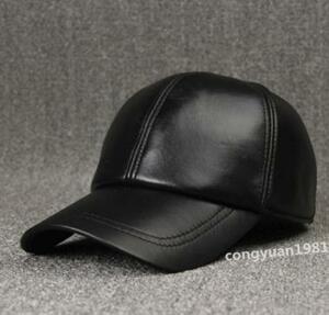 Aaa41 メンズ野球帽 本革 羊革 キャスケット 高級 レザー 帽子 ゴルフウェア 紳士 フリーサイズ 調節可 カジュアル 黒
