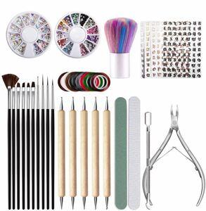 ネイルアートセット 37点セット ネイルアートツール ネイルブラシ10本、ドットペン5本、ラインテープ ラインストーン