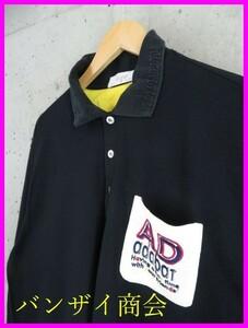 7201a87◆日本製◆adabat アダバット ロゴ刺繍 長袖ポロシャツ 5/ゴルフシャツ/ブラック/黒/メンズ/男性/紳士
