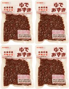 日レト 北海道産 ゆで小豆 150g×4袋   【日本レトルトフーズ 保存料・着色料未使用 味付けなし ゆであずき】