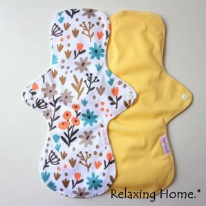 ●布ナプキン(30cm) 2枚 多い日(昼用) 普通の日(夜用) 黄ボタニカル☆