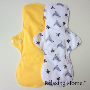 ●布ナプキン(30cm) 2枚 多い日(昼用)普通の日(夜用) とり○イエロー