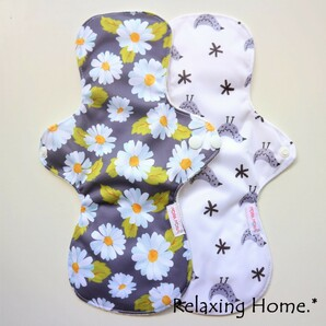 ●布ナプキン(30cm) 2枚 多い日(昼用)普通の日(夜用) とり○花