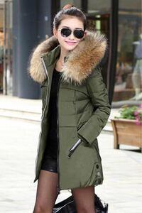 レディースファッション ファー付き 中綿ジャケット 中綿コート ダウンジャケット 防寒 レッド 雪国 2XLサイズ