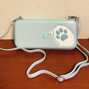 任天堂switch収納キャリングポーチ&アナログスティックカバーセット ショルダーストラップ付き かわいい猫肉球スイッチ保護ケース