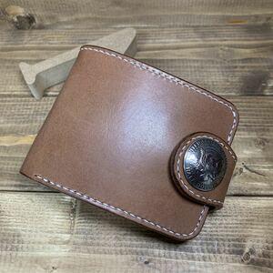 ハーフウォレット コンチョ 栃木レザー サドルレザー チョコ ブラウン 二つ折り財布