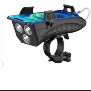 LED自転車ライト USB充電式 4in1機能搭載 4000mAh大容量 バイクライトセット IPX5防水