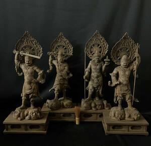 井波彫刻 大型高56cm 仏教工芸品 香樟材 時代彫刻 古美術 木彫仏教 精密彫刻 仏師で仕上げ品 四天王立像一式