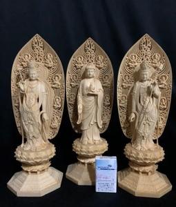 大迫力 珍品 大型45cm 総檜材 仏教工芸品 木彫仏教 精密彫刻 極上品 仏師で仕上げ品 薬師如来三尊立像