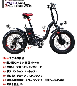 Japan's First Hybrid Bolar Drive AWD Electric Assist Bicycle Fat Bike G-CRUISER20S