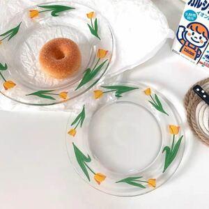 皿 1枚 グラス チューリップ 韓国雑貨 おしゃれ 可愛い 北欧 カフェ