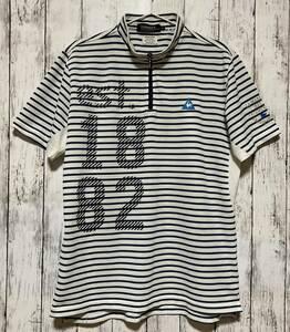 【le coq golf】 ルコックゴルフ メンズ 半袖ハーフジップシャツ LLサイズ ボーダー柄 送料無料!