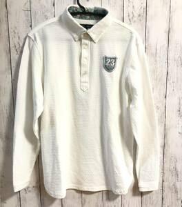 【23区 GOLF】23区ゴルフ 長袖ポロシャツ ホワイト メンズ LL 送料無料!