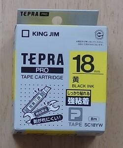 テプラPRO用テープカートリッジ SC18YW(開封・未使用)