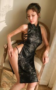 A2 セクシー 誘惑 ワンピース チャイナドレス風 コスチューム レディース ベビードール コスプレ衣装 ブラック