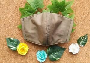 抗菌・抗ウイルス加工 マスク大人用子供用 立体インナーマスクカバー ポケット付き シンプル くすみカーキ色 ハンドメイド