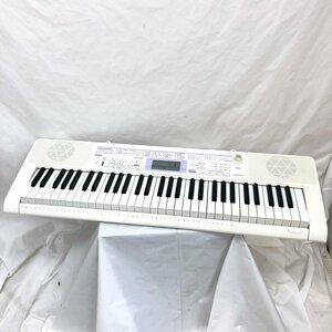 中古 CASIO カシオ 電子ピアノ 電子キーボード LK-122 光ナビゲーション 61鍵盤 鍵盤楽器 アダプター付き ホワイト H15797