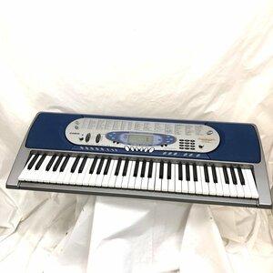 中古 CASIO カシオ 電子ピアノ 光ナビゲーション 電子キーボード LK-65 61鍵盤 シルバー ネイビー 鍵盤楽器 アダプター付き H15802
