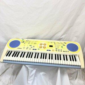 中古 CASIO カシオ 電子キーボード LK-38 61鍵盤 光ナビゲーション 電子ピアノ 鍵盤楽器 黄色系 ポップカラー アダプター付き H15805